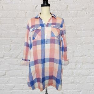 Isabel Maternity Plaid Pink and Blue Tunic Medium